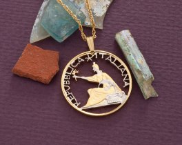 """Italian Coin Pendant and Necklace, Italy 1961 500 Lira Coin Hand Cut, 14 Karat Gold and Rhodium Plated, 1 1/8"""" in Diameter, ( # 843 )"""