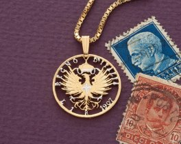 """Italian Eagle Pendant and Necklace, Italian One Lira Coin hand Cut, 14 Karat Gold and Rhodium plated, 7/8"""" in Diameter, ( # 196 )"""
