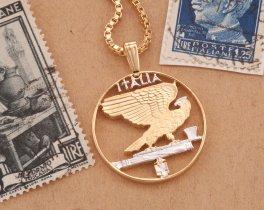 Italian Eagle Pendant, Italian Necklace, Italian Coin Jewelry, Eagle Necklace, Ethnic Jewelry, Cut Coin Jewelry, Coin Pendant, ( # 198 )