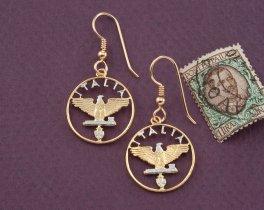 Italian Earrings, Italian Coin Jewelry, Eagle  Earrings, Italian Jewelry, Ethnic Jewelry, Italy Coin Jewelry, Cut Coin Jewelry, ( # 193E )