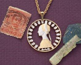 "Italian Pendant and Necklace Jewelry, Italian 500 Lira Coin Hand cut, 14 Karat Gold and Rhodium plated, 1 1/4"" in Diameter, ( # 206 )"