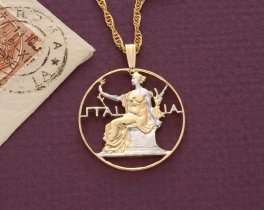 """Italian Pendant and Necklace Jewelry, Italian One Lira Coin Hand cut, 14 Karat Gold and Rhodium plated, 1"""" in Diameter, ( # 203 )"""