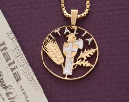 """Italian Pendant and Necklace Jewelry, Italy 10 Centisimi coin Hand cut, 14 Karat Gold and Rhodium plated, 7/8"""" in Diameter, ( # 201 )"""