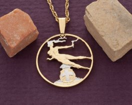 """Italian Pendant and Necklace Jewelry, Italy 20 centisisi Coin hand cut, 14 Karat Gold and Rhodium plated, 3/4"""" in Diameter, ( # 199 )"""