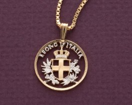 """Italian Royal Crest Pendant and Necklace, Italy 10 Centisimi Coin hand cut, 14 Karat Gold and Rhodium plated, 4/5"""" in Diameter, ( # 195 )"""