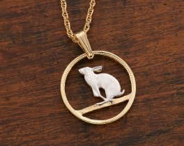"Jack Rabbit Pendant, Rabbit Pendant, Rabbit Jewelry, Canadian Coin Jewelry, Wildlife Jewelry, World Coin Jewelry, 3/4"" in diameter, ( # 50 )"