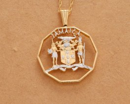 """Jamaican Pendant and Necklace, Jamaican hand Cut Coin, Jamaican Coin Jewelry, Jamaican Jewelry 1 1/4 """" in Diameter, ( # 928 )"""