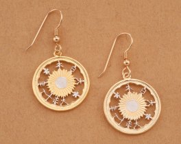 Japanese Coin Jewelry, Japanese Earrings, Oriental Earrings, Oriental Jewelry, Cut Coin Earrings, Jewelry For Woman, Coin Earrings, (# 903E)