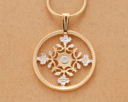 "Japanese Pendant and Necklace, Japanese 50 Yen Flower Coin Hand Cut, 14 Karat Gold and Rhodium Plated, 1"" in Diameter, ( # 904 )"