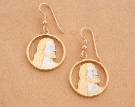 "Jesus Christ Earrings, Religious Jewelry, Christian Jewelry, Hand cut Jesus Christ Religious medallion, 1"" in diameter, ( # 526E )"
