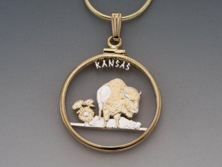 "Kansas State Quarter Pendant, Hand Cut United States kansas State Quarter, 14 Karat Gold and Rhodium Plated, 1"" in Diameter, ( # 2034 )"