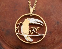 "Keel Billed Toucan Pendant and Necklace, Belize Toucan Bird Coin Hand Cut, 14 Karat Gold and Rhodium Plated, 1 1/8"" in Diameter, ( # 595 )"