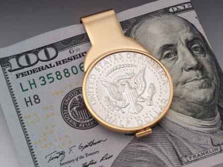 "Kennedy Half Dollar Money Clip, United States Kennedy Half Dollar Money Clip,14 Karat Gold Plated Money Clip, 1 1/4"" X 1 3/4"" ( # 319UM )"