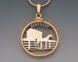 "Kentucky State Quarter Pendant, Hand Cut United States Kentucky Quarter, 14 Karat Gold and Rhodium Plated, 1"" in Diameter, ( # 2015 )"