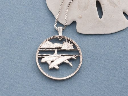 "Killer Whale Pendant and Necklace, Canadian Killer Whale Coin jewelry, Killer Whale Jewelry, Sea Life Jewelry, 1"" diameter, ( # 676S )"