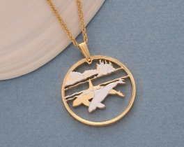 "Killer Whale Pendant and Necklace Jewelry, Canada Killer Whale Coin Hand Cut, 14 Karat Gold and Rhodium Plated, 1"" in Diameter, ( # 676 )"