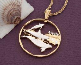 "Killer Whale Pendant, Killer Whale Jewelry, Killer Whale Necklace, Whale Jewelry, Sea Life Jewelry, 1 1/4"" in diameter, ( # 407D )"