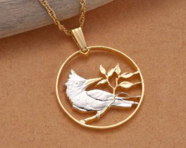 "Kingfisher ( Bird ) Pendant and Necklace, British Virgin Islands Coin Hand Cut, 14 Karat Gold and Rhodium Plated, 7/8"" in Diameter, ( # 45 )"