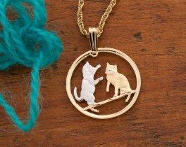 Kitten Pendant, Kitten Necklace, Tonkinese Cat Necklace, Isle Of Man Coin Jewelry, Cat Jewelry, Cat Necklace, Womans Jewelry, ( # 803 )