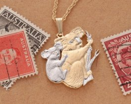 Koala and Baby Pendant and Necklace, Hand Cut Coins, Australian Coin Jewelry, Coin Jewelry, Ethnic Jewelry, Wild Life Jewelry, ( # 5 )
