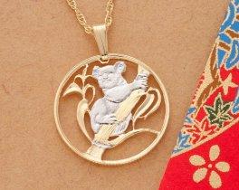 "Koala Pendant and Necklace, Australian 200 Dollar Coin Hand Cut, 14 Karat Gold and Rhodium Plated, 1"" in Diameter, ( # 392 )"