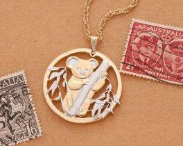 "Koala Pendant and Necklace, Australian Five Dollar Hand Cut, 14 Karat Gold and Rhodium PLated, 1 1/4"" in Diameter, (# 722 )"