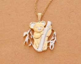 "Koala Pendant and Necklace, Australian Five Dollar hand Cut, 14 Karat Gold and Rhodium Plated, 1 "" in Diameter, ( # 722B )"