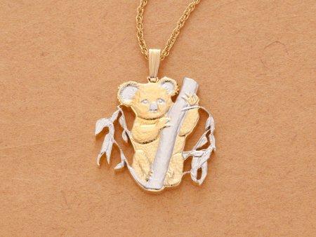 "Koala Pendant and Necklace, Australian Five Dollar hand Cut, 14 Karat Gold and Rhodium Plated, 1 "" in Diameter, ( # 722B )"