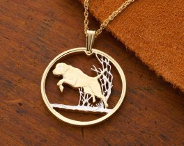 """Labrador Retreiver Pendant and Necklace Jewelry, Canada 50 cents coin Hand Cut , 1 """" in Diameter, ( # 615 )"""