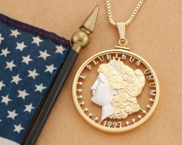 "Lady Liberty Pendant and Necklace, Hand Cut United States Morgan Dollar, United States Coin Jewelry, 1 1/2"" in Diameter, ( # 324 )"