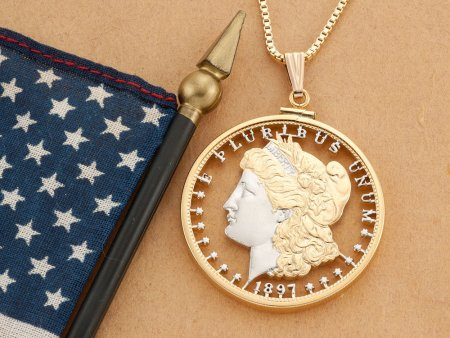 """Lady Liberty Pendant and Necklace, Hand Cut United States Morgan Dollar, United States Coin Jewelry, 1 1/2"""" in Diameter, ( # 324 )"""
