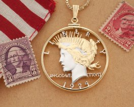 """Lady Liberty Pendant and Necklace, Hand Cut United States Peace Dollar, Patriotic Jewelry, Coin Jewelry, 1 1/2"""" in Diameter, ( # 326 )"""