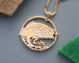 "Large Mouth Bass Pendant and Necklace, Private Mint Medallion Hand Cut, Plated in 14 K Gold and Rhodium, 1 1/4"" in Diameter, ( # 731 )"