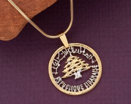 """Lebanese Cedar Tree Pendant/Necklace,Lebanon 50 Piastres Coin  Hand Cut & plated with 14K and rhodium, 7/8"""" in Diameter,( # 930 )"""