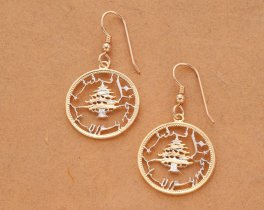 """Lebanon Cedar Tree Earrings, Lebanon 10 Piastes Coin Hand Cut,14K Gold and Rhodium plated,7/8"""" in Diameter,14K Gold Filled Wires, ( # 229E )"""