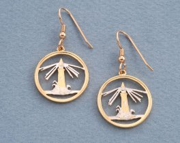 "Lighthouse Coin Earrings, Bahamas Lighhouse coin Hand Cut, 14 Karat Gold and Rhodium plated,14K G/F Wires, 7/8"" in Diameter, ( # 728E )"