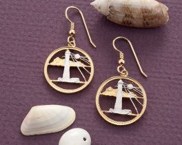 Lighthouse Earrings, Barbadoes Five Cents Lighthouse Coin Hand Cut, 14 Karat Gold and Rhodium Plated , ( # 26E )