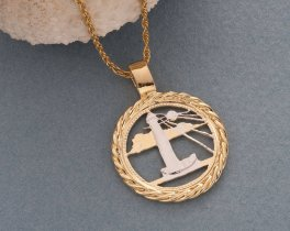 "Lighthouse Pendant and Necklace, Barbados Five Cents Coin Hand Cut, 14 K Gold and Rhodium Plated, 7/8 "" in Diameter, ( # 721 )"