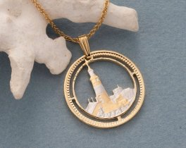 "Lighthouse Pendant and Necklace Jewelry, Gibraltar Lighthouse coin hand Cut, 114 Karat Gold and Rhodium Plated, 1 "" in Diameter, ( # 125 )"