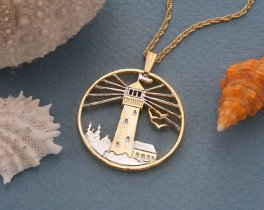 "Lighthouse Pendant and Necklace Jewelry, Lighhouse medallion Hand Cut, 14 Karat Gold and Rhodium Plated, 1 1/8 "" in Diameter, ( # 759 )"