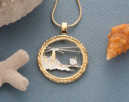 "Lighthouse Pendant and Necklace Jewelry, Maine State Quarter Coin hand Cut, 14K Gold and Rhodium Plated, 1 '"" in diameter, ( # 779 )"
