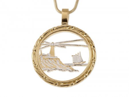 """Lighthouse Pendant and Necklace Jewelry, Maine State Quarter Coin hand Cut, 14K Gold and Rhodium Plated, 1 '"""" in diameter, ( # 779 )"""