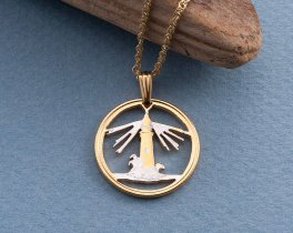 "Lighthouse pendant, Hand cut Bahamas Lighthouse coin, Lighthouse Jewelry, Nautical Jewelry, 1 "" in diameter, ( # 728 )"