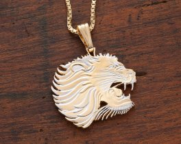 "Lion Head Pendant and Necklace, Ethiopia Coin Hand Cut, 14 Karat Gold and Rhodium Plated, 1 1/8th"" in Diameter, ( # 459 )"