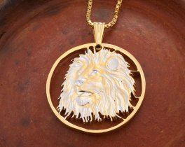 Lion Pendant, African Lion Pendant, Lions Head Necklace, African Wildlife Jewelry, Wild Life Jewelry, Mens Jewelry, Coin Jewelry, ( # 749 )