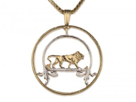 Lion Pendant and Necklace, East Africa One Shilling Hand Cut (#576)