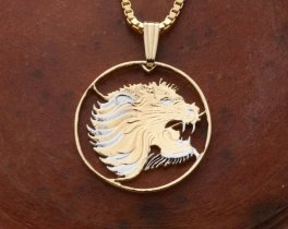 "Lions Head Pendant and Necklace, Ethiopia 10 Cents Lions Head Coin Hand Cut, 14 Karat Gold and Rhodium Plated, 7/8"" in Diameter,( # 95 )"