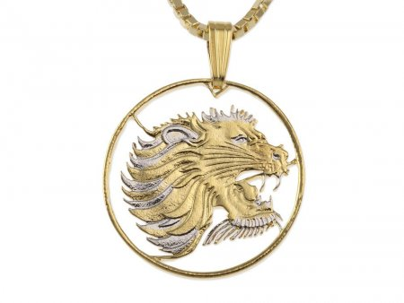 """Lions Head Pendant and Necklace, Ethiopia 10 Cents Lions Head Coin Hand Cut, 14 Karat Gold and Rhodium Plated, 7/8"""" in Diameter,( # 95 )"""