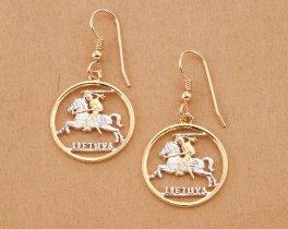 """Lithuanian Coin earrings, Hand cut Lithuanian one centu coins, Lithuanian Jewelry, 3/4"""" in diameter , ( # 227E )"""