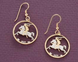 """Lithuanian Coin Earrings, Lithuanian 20 Centu Coin Hand Cut, 14 K Gold and Rhodium plated, 14 K G/F Ear Wires, 7/8"""" in Diameter, ( # 817E )"""